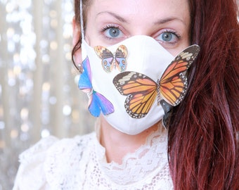 Butterfly Face Mask in Ivory Cotton - Women's Face Cover with Butterflies - Handmade Fabric Face Masks with Elastic