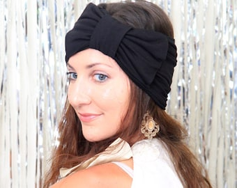 Women's Turban Headband with Bow - Jersey Knit Hair Wrap in Black - Available in 24 Colors