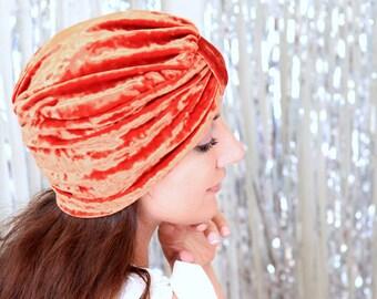 Crushed Velvet Turban Hat in Rust Orange - Women's Fashion Hair Wrap - Pumpkin Spice - Lots of Colors