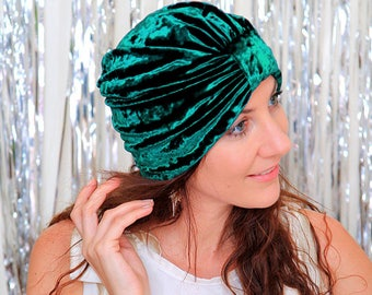 Turban Hat in Emerald Green Crushed Velvet - Fashion Hair Wrap - Lots of Colors