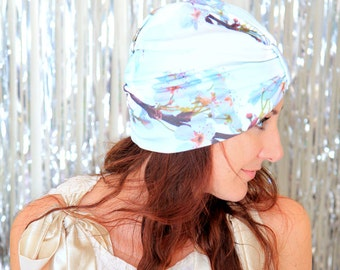 Women's Turban Hat - Organic Cotton White Floral Print Hair Wrap for Yoga or Meditation - Pear Blossoms Wearable Art