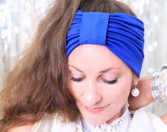 Turban Headband - Women's Hair Band in Royal Blue Jersey Knit - Boho Style Wide Headbands - Lots of Colors