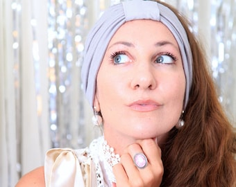 Turban Headband - Women's Hair Band in Silver Grey Jersey Knit - Boho Style Wide Headbands - Lots of Colors