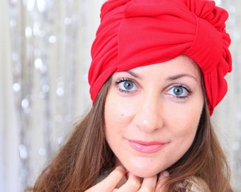 Women's Red Turban with Bow - Jersey Knit Hairwrap - Fashion Turbans - Headwraps - Lots of Colors