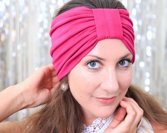 Turban Headband - Women's Hair Band in Fuchsia Jersey Knit - Boho Style Wide Headbands - Lots of Colors