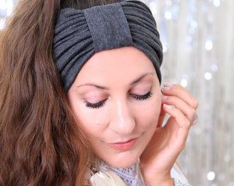 Turban Headband - Women's Hair Band in Dark Heather Grey Jersey Knit - Boho Style Wide Headbands - Lots of Colors