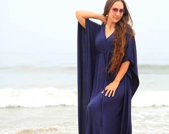 Kaftan Maxi Dress in Navy Blue Jersey Knit - Women's Beach Caftan Dresses - Lots of Colors