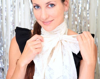 Jabot in Ivory Lace - Fashion Collar with Ruffles - Ruffled or Frilled Neckwear - Victorian Style