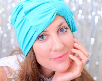 Hair Turban with Bow in Caribbean Sea Blue - Light Teal Jersey Knit - Fashion Turbans for Women - Lots of Colors