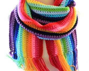 Rainbow Scarf - Chunky Scarf - Long Oversized Blanket Scarf - Colorful Stripes - by Mademoiselle Mermaid