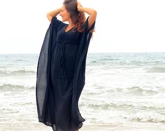Caftan Maxi Dress - Beach Cover Up - Kaftan - Muumuu - Black