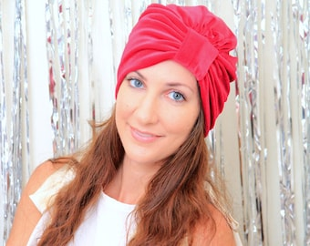 Velvet Turban Hat - Women's Fashion Hair Wrap in Red - Mademoiselle Mermaid's Bohemian Style Hair Accessories by