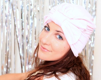 Turban Hat with Bow - Light Pink Hair Wrap in Jersey Knit - Women's Fashion Head Covering - Lots of Colors