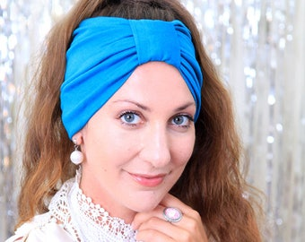 Turban Headband - Turquoise Blue Women's Hair Band in Jersey Knit - Boho Style Wide Headbands - Lots of Colors