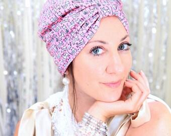 Mademoiselle Mermaid Cotton Turban Hat with Kawaii Kitty Cat Print - Dusty Pink Hair Turban - Mauve Turban Headwrap - Cat Lady Style