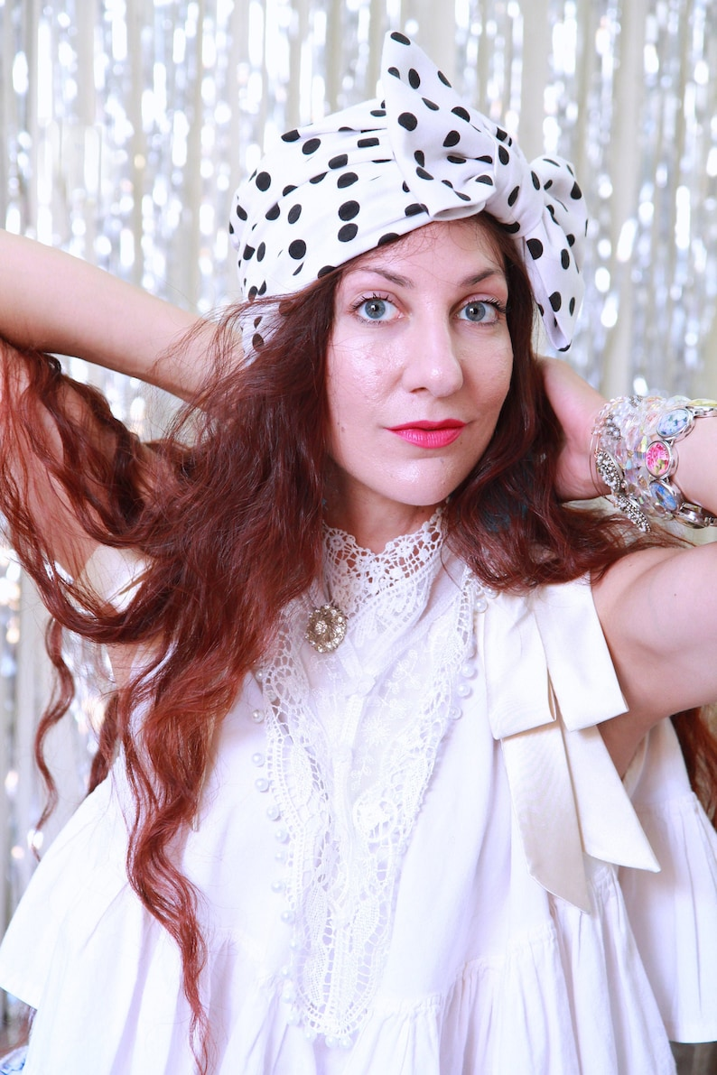 Polka Dot Turban Hat in Black and White  Bow Turbans for image 0