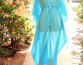Caftan Maxi Dress - Beach Cover Up Kaftan in Light Blue Cotton Gauze - Lots of Colors