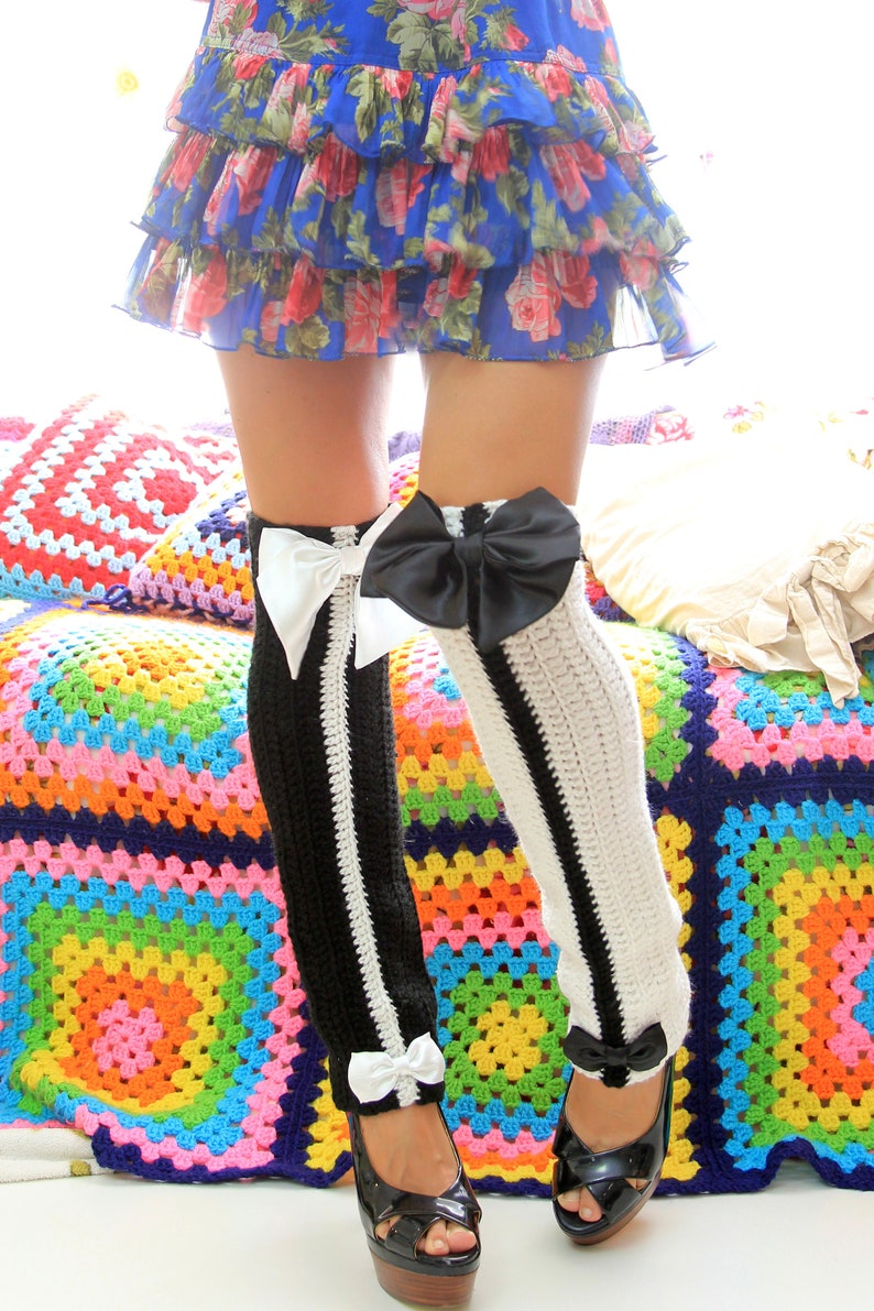 Black and White Leg Warmers  Women's Leg Warmers  Over image 0
