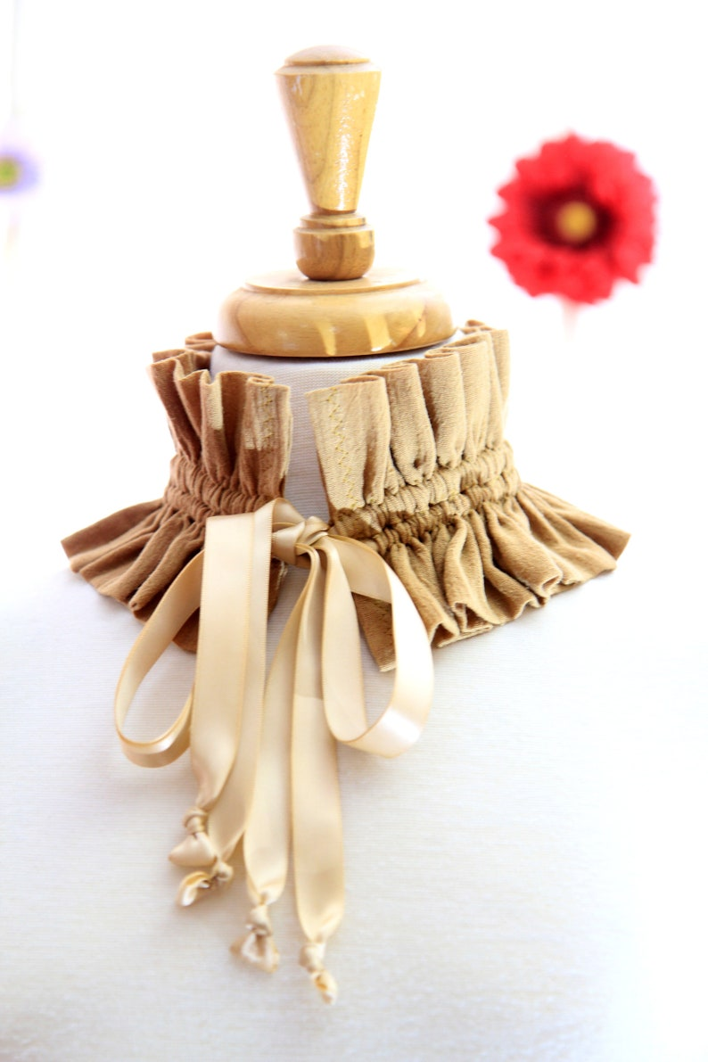 Victorian Style Fashion Collar  Ruffled Choker in Khaki image 0