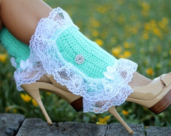 Victorian Style Leg Warmers - Crochet and Lace Spats in Mint - Kawaii Accessories - Lots of Colors