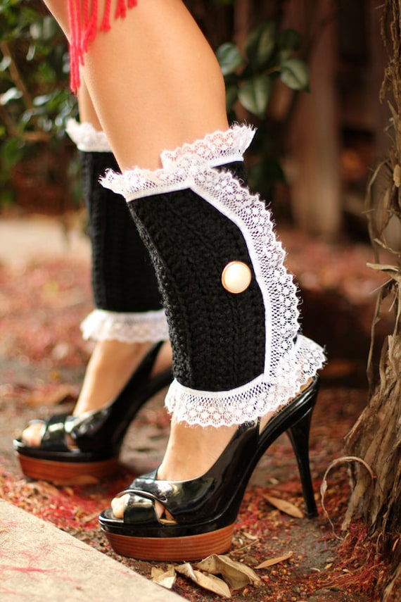 Lots of Colors Steampunk Accessories Victorian Style Leg Warmers Crochet and Lace Spats in Rose