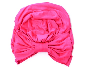 Turban with Bow - Fuchsia Pink Hair Wrap in Jersey Knit - Women's Fashion Head Covering - Lots of Colors
