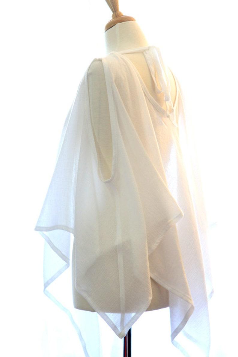 aafa1fa003 Beach Cover Up Poncho with Handkerchief Hem White Kaftan in | Etsy
