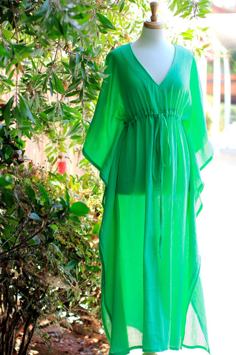 b739ac5587 Caftan Maxi Dress - Beach Cover Up Kaftan in Parrot Green Cotton Gauze -  Women's Maxi Dresses - Lots of Colors