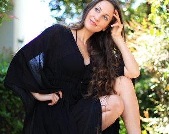 Little Black Dress with Fringe - Mini Caftan - Kaftan