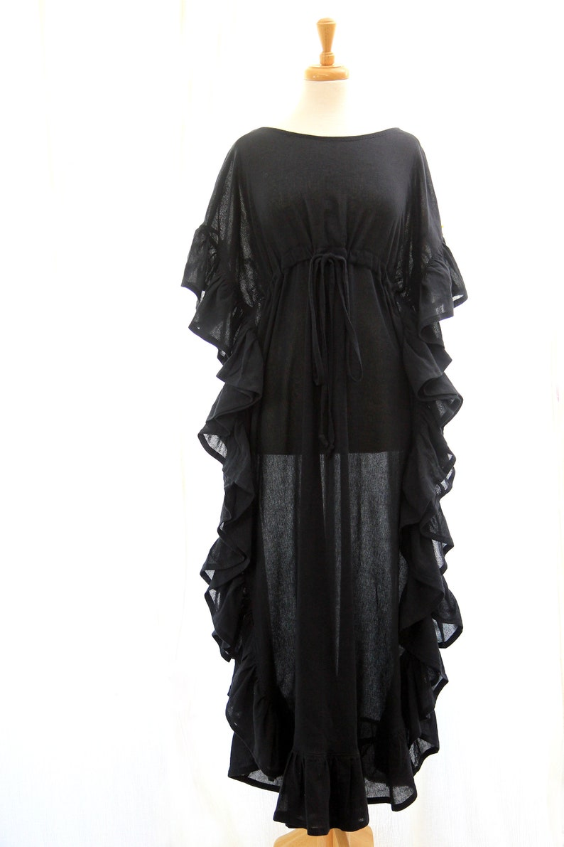 Black Kaftan Maxi Dress with Ruffles  Cotton Gauze Caftan image 0