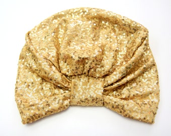 Gold Sequin Turban - Women's Turban Headwrap with Sequins - Mardi Gras Full Turban Hair Wrap - Lots of Colors