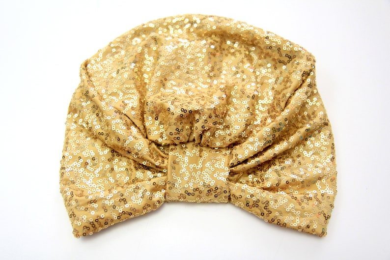 Gold Sequin Turban  Women's Turban Headwrap with Sequins image 0