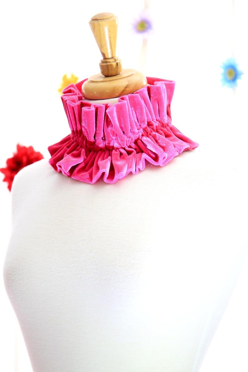 Hot Pink Velvet Collar  Women's Neck Ruff  Victorian image 0