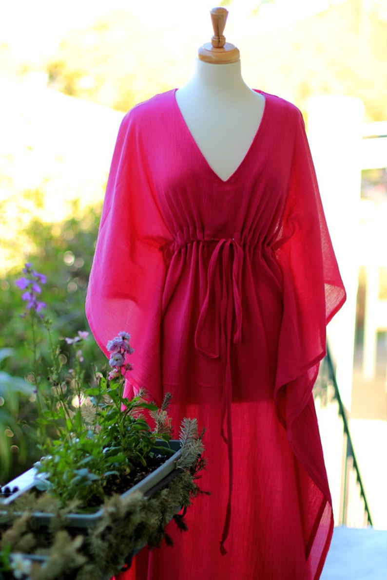 e5cc57d71e Caftan Maxi Dress - Beach Cover Up Kaftan in Fuchsia Cotton Gauze - Women's  Maxi Dresses - Lots of Colors
