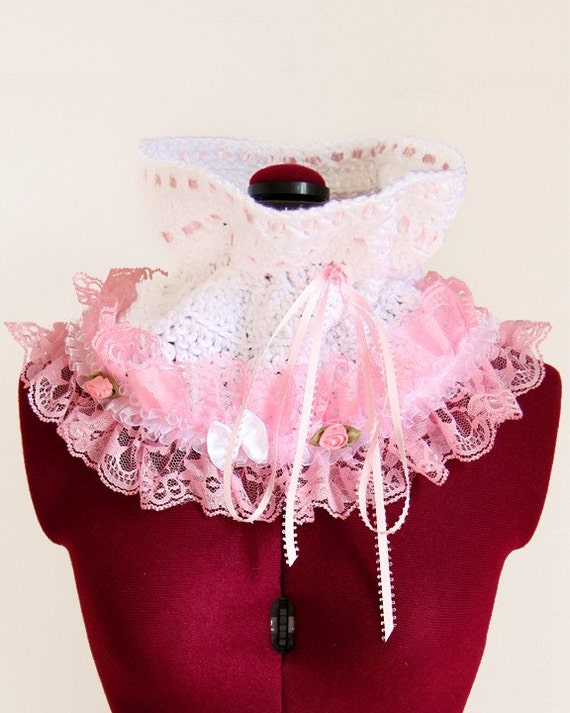 Lots of Colors Victorian Style Fashion Collar in White with Pink Lace Cowl Neck Warmer