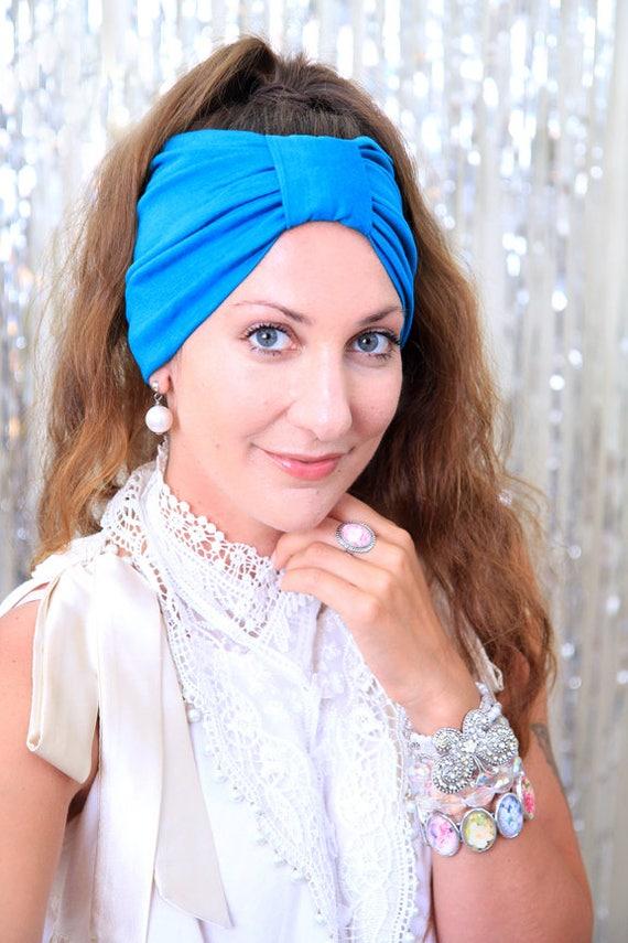 49d9a14b106 Turban Headband Turquoise Blue Women s Hair Band in