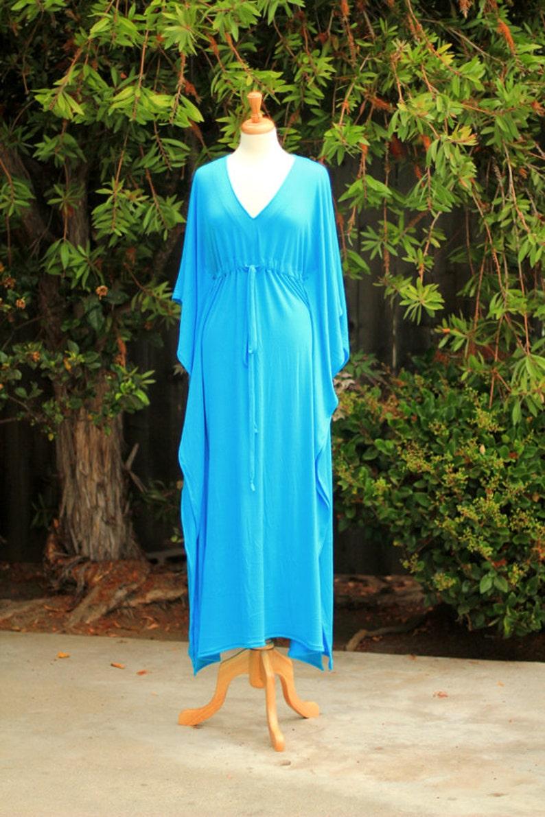 c9282a2e65a Kaftan Maxi Dress in Aqua Jersey Knit Long Caftan Lots of