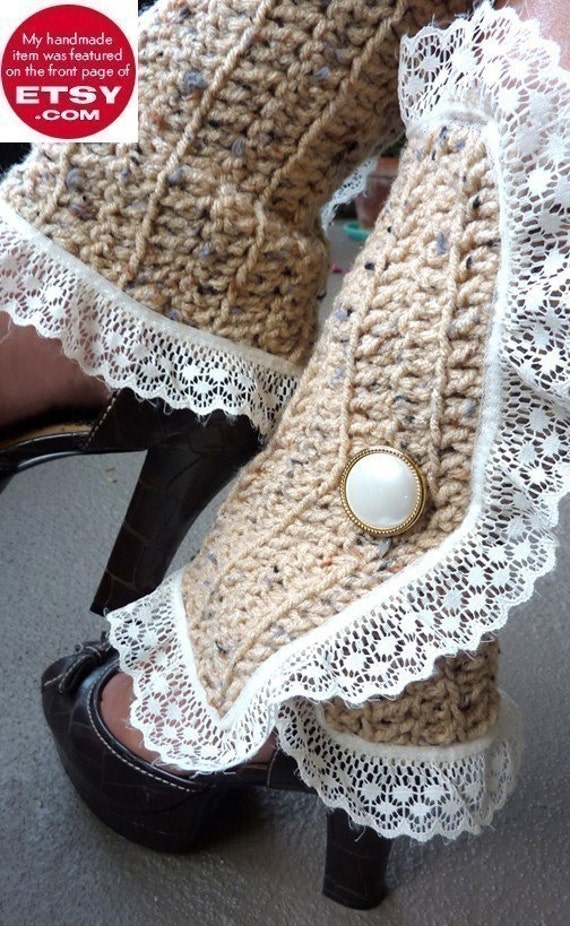Lots of Colors Victorian Style Leg Warmers Steampunk Accessories Crochet and Lace Spats in Aqua