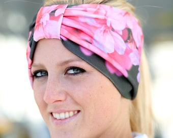 Turban Headwrap in Pink Organic Cotton Floral Print - Wide Headband for Yoga or Mediation - Women's Bohemian Style Hair Wrap