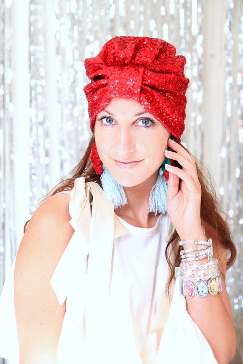 2f262a06982 Holiday Party Turban Hat in Christmas Red Sequins