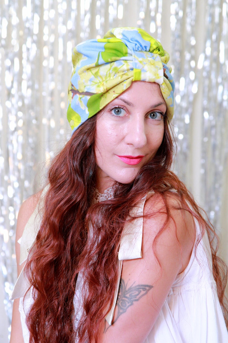 Organic Cotton Turban in Blue and Yellow Floral Print  Head image 0