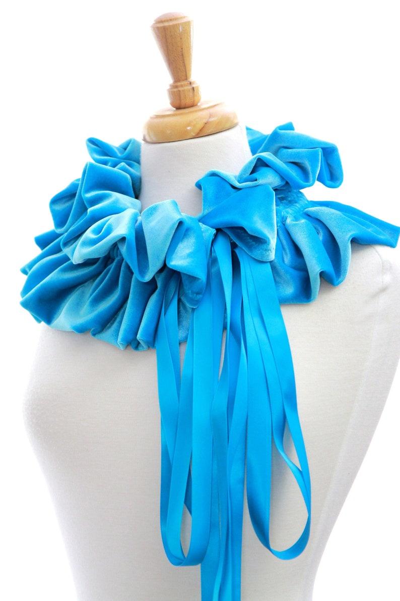 Collar with Ruffles Velvet Scarf in Turquoise Blue Women/'s Velvet Shrug or Neck Warmer Victorian Style Fashion Collar