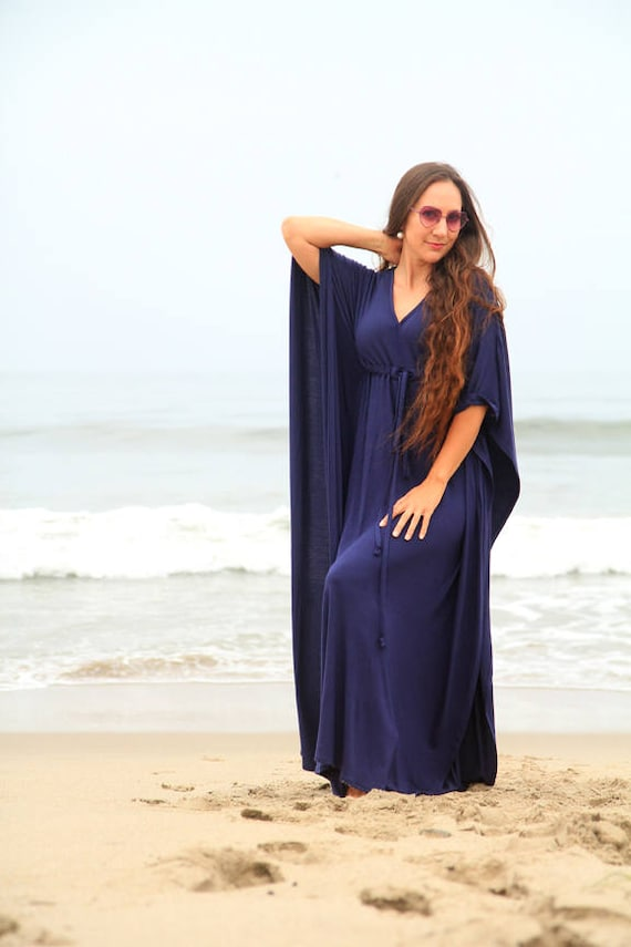 e4fec3bd2ca0e Kaftan Maxi Dress in Navy Blue Jersey Knit - Women's Beach Caftan Dresses -  Lots of Colors