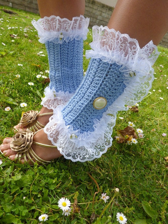 Spats, Gaiters, Puttees – Vintage Shoes Covers Victorian Style Leg Warmers - Crochet  Lace Spats in Cornflower Blue Kawaii Fashion Accessories Lots Of Colors $67.00 AT vintagedancer.com