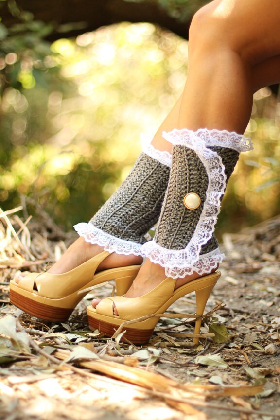 Spats, Gaiters, Puttees – Vintage Shoes Covers Victorian Style Leg Warmers - Crochet  Lace Spats in Heather Grey Steampunk Accessories Lots Of Colors $57.00 AT vintagedancer.com