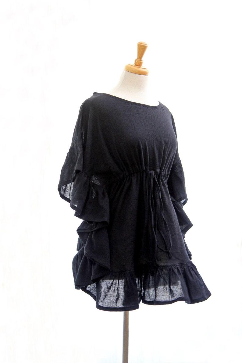 Black Beach Cover Up Dress  Mini Kaftan with Ruffles  image 0