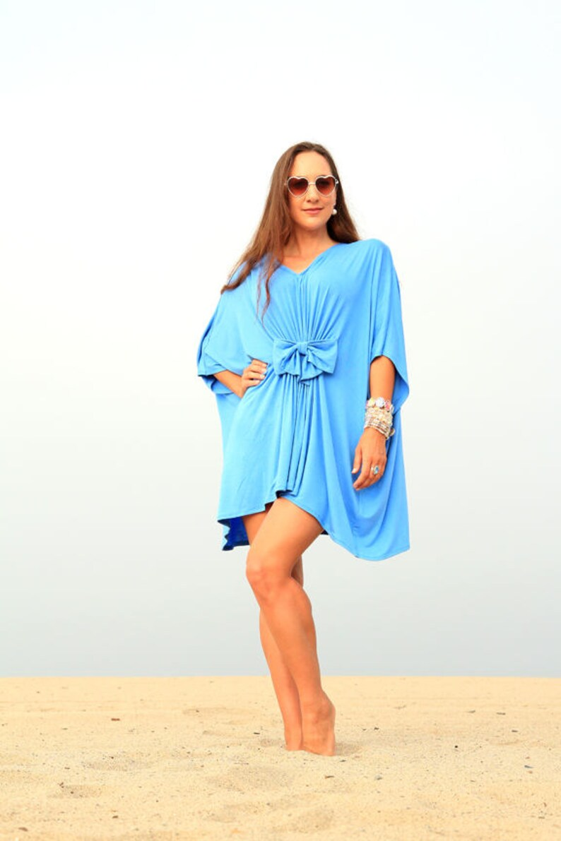 36d63f054 Beach Cover Up Dress in Jersey Knit Mini Kaftan with Open | Etsy
