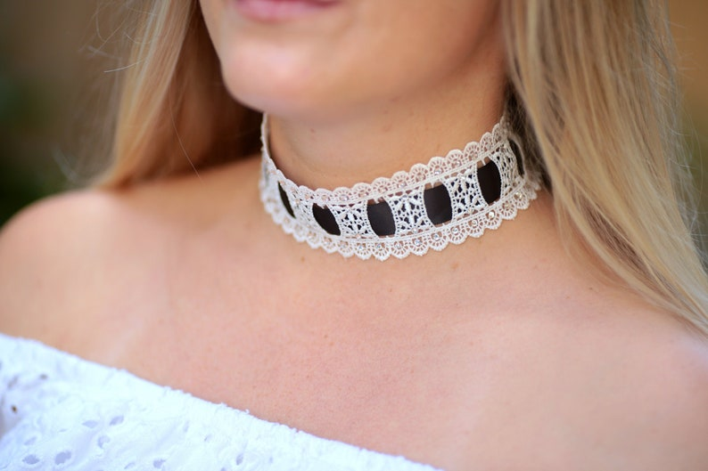 Choker Necklace in White Lace with Black Ribbon and image 0