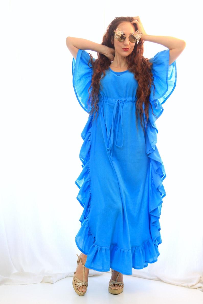 Maxi Kaftan with Ruffles  Turquoise Caftan Dress  Beach image 0