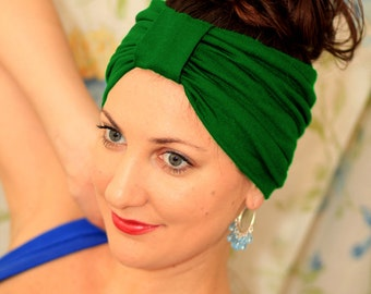 Turban Headband - Hair Warp in Kelly Green Jersey Knit - Boho Style Wide Headbands - 24 Colors